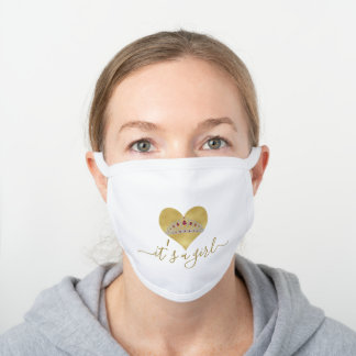 Charm Gold Heart It's a Girl Baby Shower Drive By White Cotton Face Mask