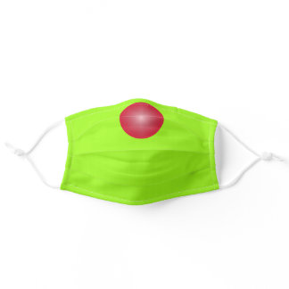 Chartreuse Green solid color with Red Nose Adult Cloth Face Mask