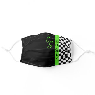 Checkerboard Racing Flag Green Line Custom Name Adult Cloth Face Mask