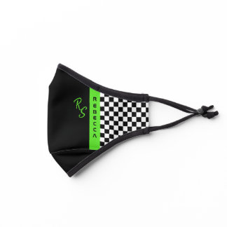 Checkerboard Racing Flag Green Line Custom Name Premium Face Mask
