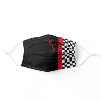 Checkerboard Racing Flag Red Line Custom Name Cool Adult Cloth Face Mask