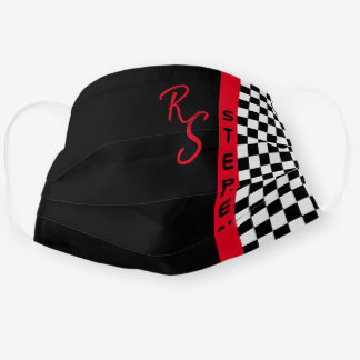 Checkerboard Racing Flag Red Line Custom Name Cool Cloth Face Mask