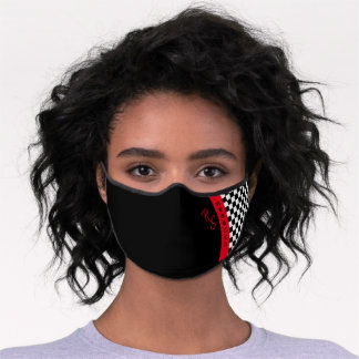 Checkerboard Racing Flag Red Line Custom Name Cool Premium Face Mask