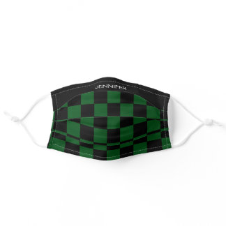 Checkered Flag Green Monogram Name COVID-19 Adult Cloth Face Mask