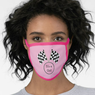 Checkered Flag Sport Racing Sport Its A Girl Face Mask