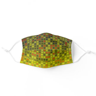 Checkered Khaki Yellow Modern Pixel Pattern Unisex Adult Cloth Face Mask