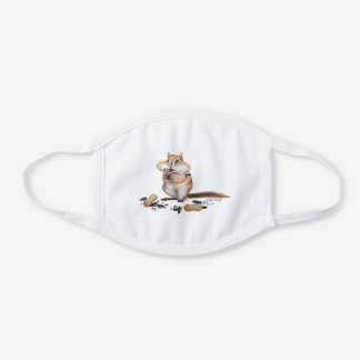 Cheeky Chipmunk Illustration White Cotton Face Mask