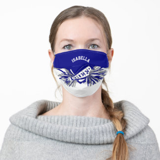 📣 Cheerleader - Blue, Gray and White Adult Cloth Face Mask