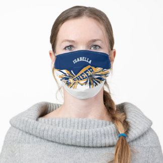 📣 Cheerleader -Navy Blue, Gold and White Adult Cloth Face Mask