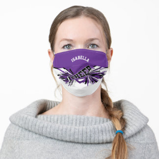 📣 Cheerleader - Purple, Black and White Adult Cloth Face Mask