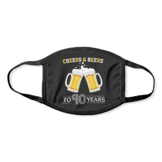 Cheers and Beers to 90 Years Beer Mugs Black Face Mask