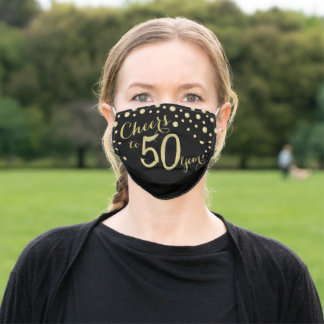 Cheers to 50 Years Black and Gold Glitter Adult Cloth Face Mask