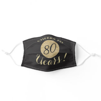 Cheers to 80 Years Black and Gold Glitter Adult Cloth Face Mask