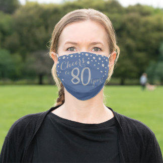 Cheers to 80 Years Blue and Silver Glitter Adult Cloth Face Mask