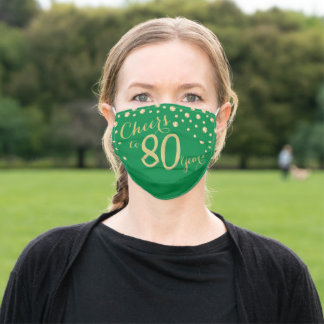 Cheers to 80 Years Green and Gold Glitter Adult Cloth Face Mask