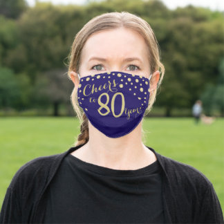 Cheers to 80 Years Navy Blue and Gold Glitter Adult Cloth Face Mask