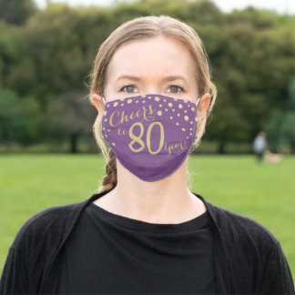 Cheers to 80 Years Purple Lavender Gold Glitter Adult Cloth Face Mask