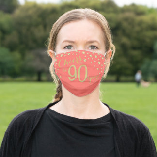 Cheers to 90 Years Coral and Gold Glitter Adult Cloth Face Mask