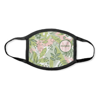 Cheery Abstract Green and Pink Plants and Leaves Face Mask