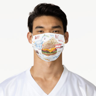 Cheeseburger Fast Food BBQ Diner Adult Cloth Face Mask