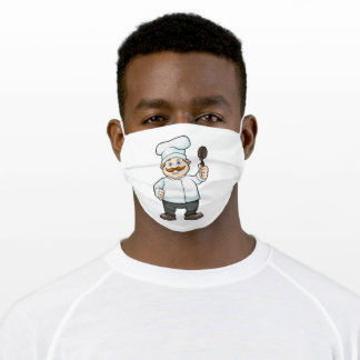 Chef with Chef's hat & Soup spoon Adult Cloth Face Mask