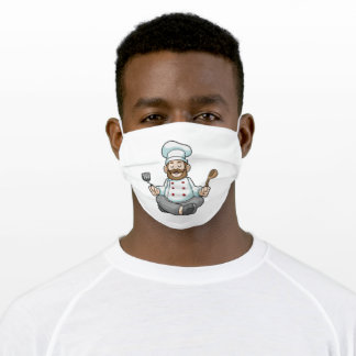 Chef with Cooking apron at Yoga Adult Cloth Face Mask