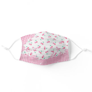 cherries on pink gingham adult cloth face mask