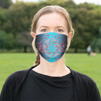 Cherry Blossom and Goldfish in Blue Adult Cloth Face Mask