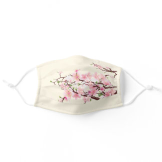 Cherry Blossoms Pink Cream White Wedding Adult Cloth Face Mask