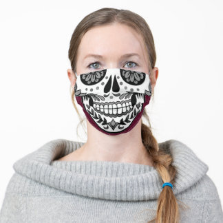 Cherry Red Burgundy Whimsical Sugar Skull Adult Cloth Face Mask
