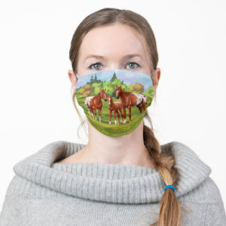Chestnut Appaloosa Horses In Summer Pasture Adult Cloth Face Mask