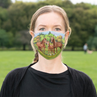 Chestnut Sorrel Quarter Horses In Summer Pasture Adult Cloth Face Mask