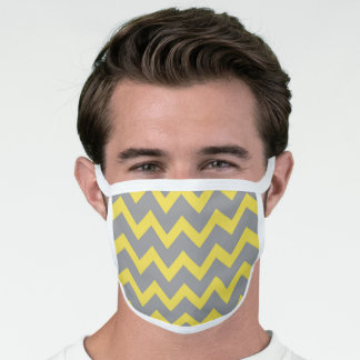 Chevron ultimate grey illuminating yellow pattern face mask