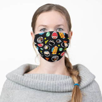 Chibi Justice League Heroes and Logos Pattern Adult Cloth Face Mask