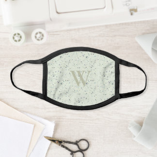 CHIC ABSTRACT MINT GREEN TERRAZZO TEXTURE MONOGRAM FACE MASK