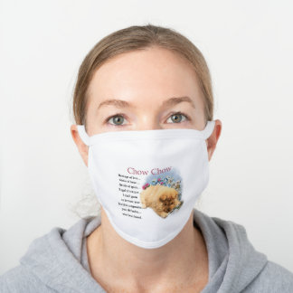 Chic Chow Chow White Cotton Face Mask
