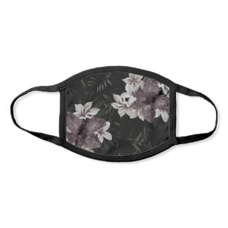 Chic Dark Floral Print Face Mask