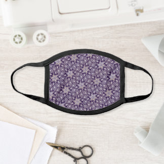 Chic Eggplant White Floral Paisley Flower Pattern Face Mask
