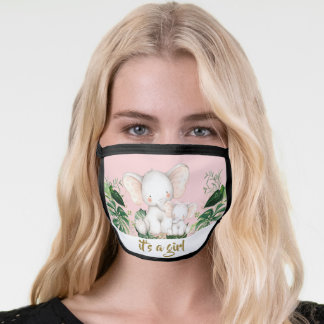 Chic Elephant It's a Girl Baby Shower Drive By Face Mask