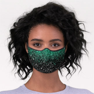 Chic Emerald Green Black Faux Glitter Premium Face Mask