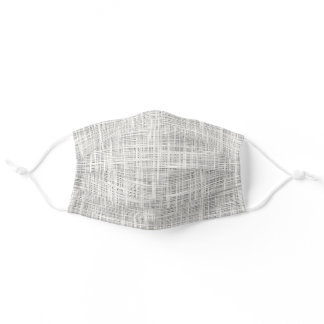Chic Faux White Gray Fabric Texture Weave Pattern Adult Cloth Face Mask
