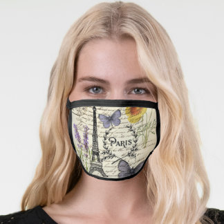 chic french butterfly scripts paris eiffel tower face mask