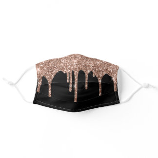 Chic Girly Rose Gold Glitter Drips Sparkle Adult Cloth Face Mask