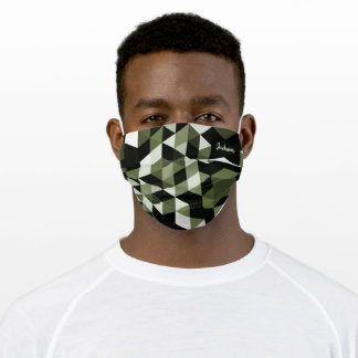 Chic green geometric pattern personalized name cloth face mask