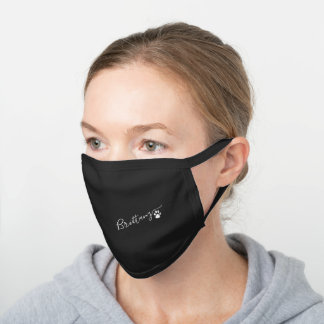 Chic Handwritten Script Name Your Text Paw Print Black Cotton Face Mask