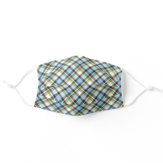 Chic Light Blue Lime Green White Plaid Pattern Adult Cloth Face Mask