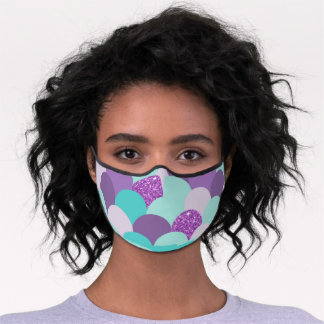 Chic Mermaid Scales Purple Glitter Turquoise Premium Face Mask