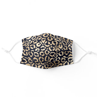 Chic Modern Gold Dark Blue Leopard Cheetah Safety Adult Cloth Face Mask