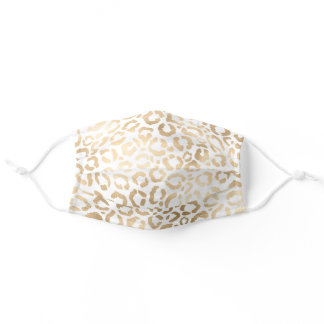 Chic Modern Gold White Leopard Cheetah Safety Adult Cloth Face Mask