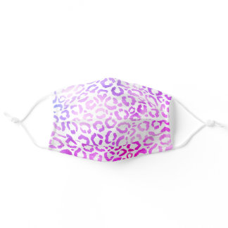 Chic Modern Magenta White Leopard Cheetah Safety Adult Cloth Face Mask